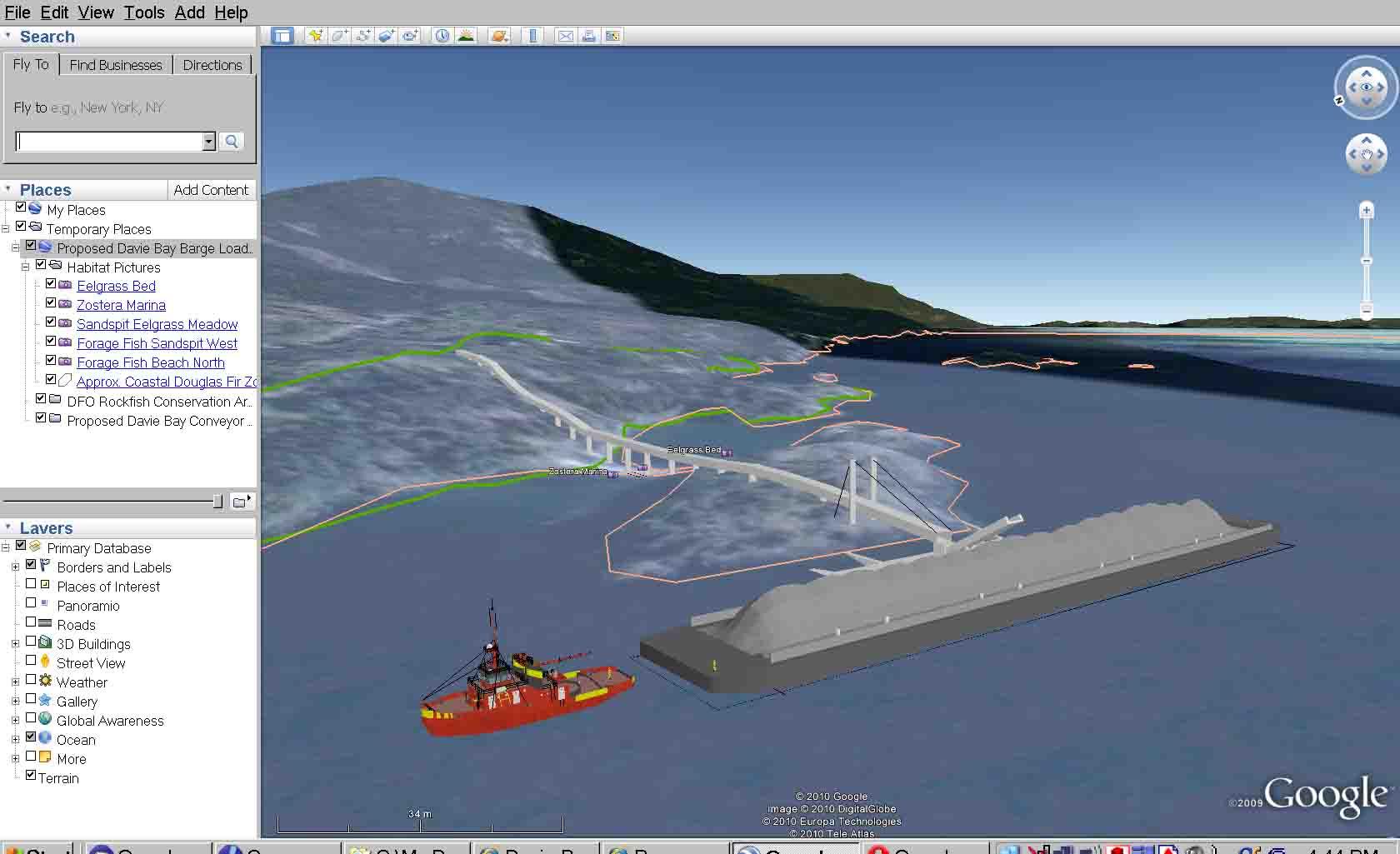 Proposed barge loading Davie Bay, BC