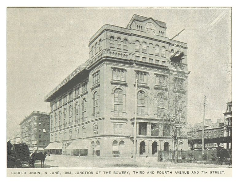 The Cooper Union in 1893 New York City